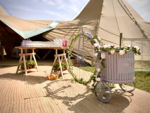 Prosecco Bike at Tipi Wedding North West England